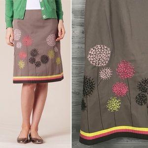 BODEN   Embroidered Dandelion A-line Skirt